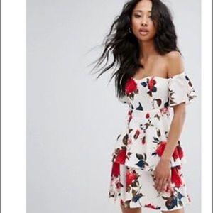 PrettyLittleThing Floral Bardot Ruffle Dress